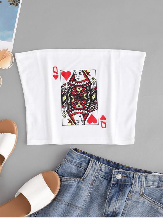 women Poker Queen Graphic Bandeau Top - WHITE M