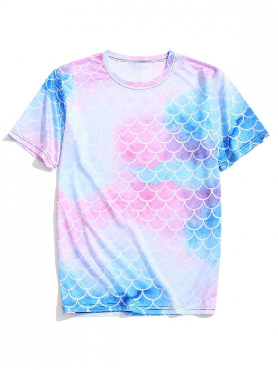 ladies Colorful Tie Dye Fish Scales Print Casual T-shirt - PIG PINK 4XL