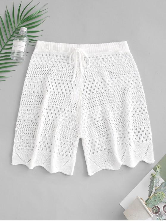 women Drawstring See Thru Crochet Shorts - WHITE M