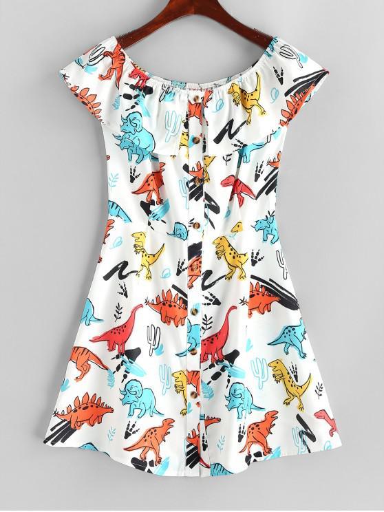 outfits Button Up Off Shoulder Dinosaur Mini Dress - WHITE M