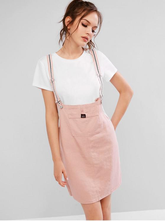 Mini vestido casual con tirantes en el bolsillo delantero - Cerdo Rosa M