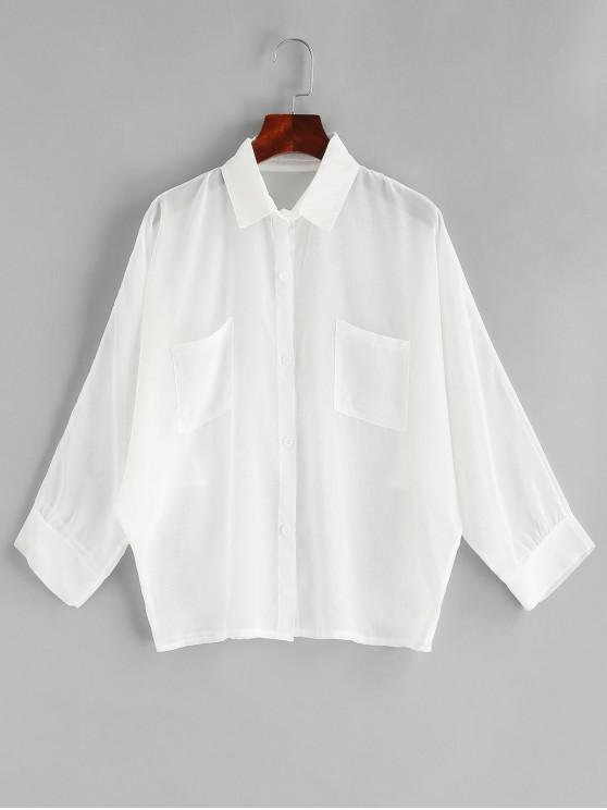 Halb-Schiere-Pocket -Fledermaus- Ärmel- Shirt - Weiß Eine Größe