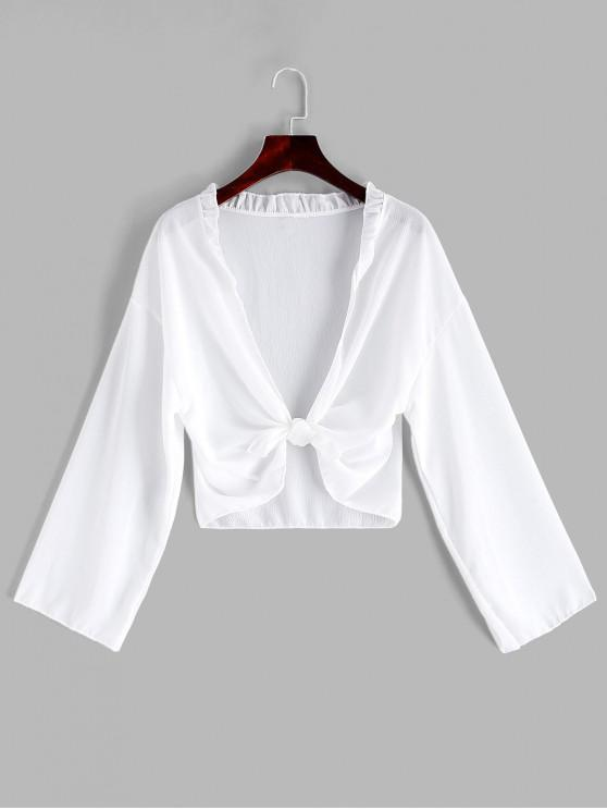 lady Semi-sheer Tie Front Ruffle Cover-up - WHITE ONE SIZE