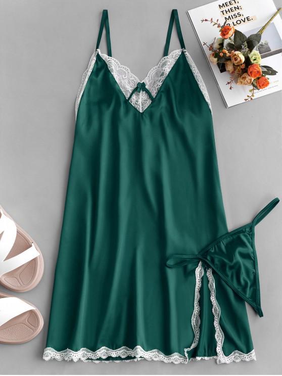 lady Lace Trim Slit Satin Chemise - SEA TURTLE GREEN M
