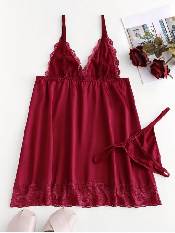 best Lace Trim Satin Babydoll with G-string - RED WINE XL