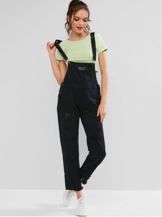 chic Distressed Pocket Denim Dungaree Jumpsuit - BLACK M
