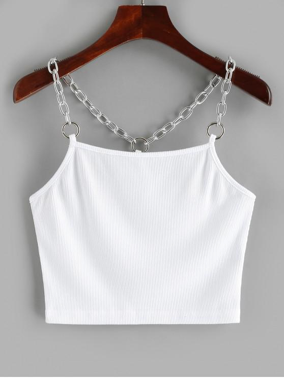 fancy Chains Ribbed Crop Tank Top - WHITE M