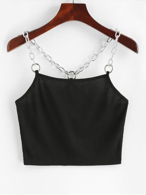 fancy Chains Ribbed Crop Tank Top - BLACK L