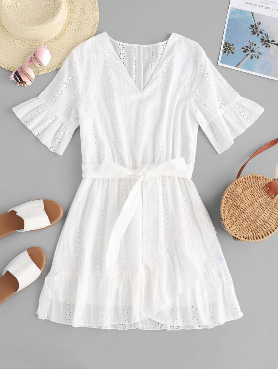 lady ZAFUL Eyelet Flare Sleeve Belted Ruffle Dress - WHITE S