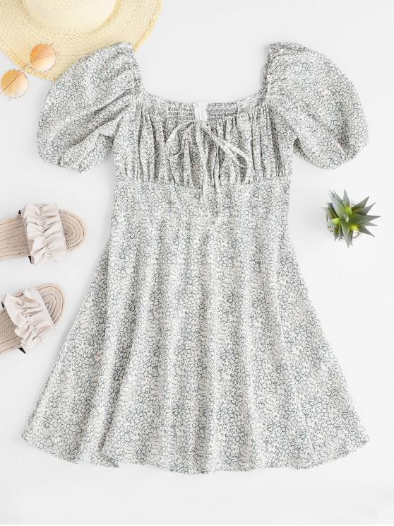lady Smocked Ditsy Floral Milkmaid Mini Dress - GREEN S