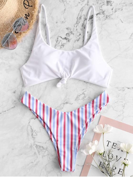 women ZAFUL Contrast Striped Knot Bikini Set - MULTI-A M