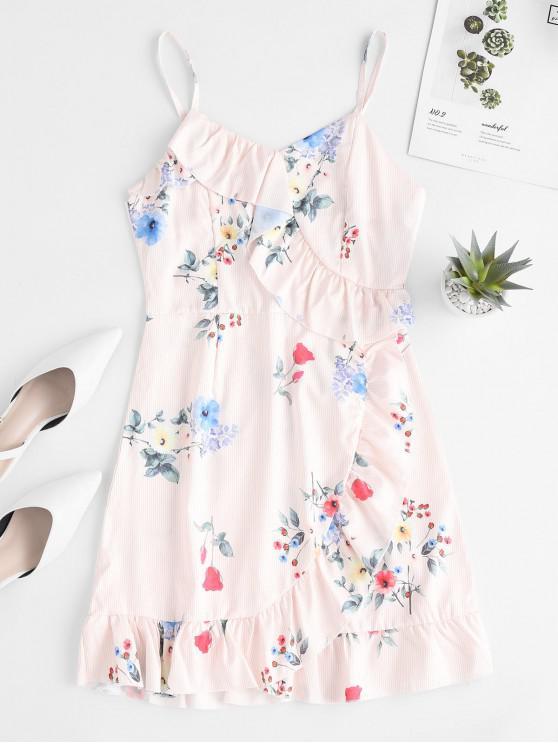 women Floral Stripes Ruffles Cami Mini Dress - MULTI-A L