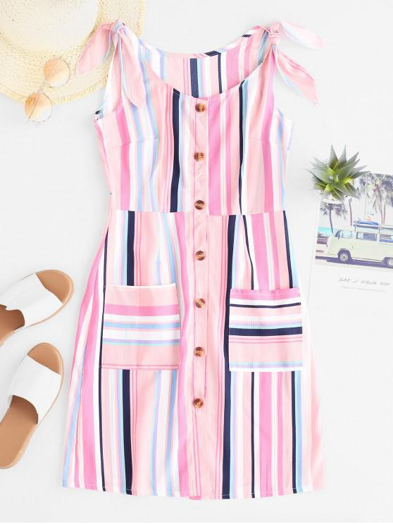 outfits Pockets Stripes Button Up Mini Dress - MULTI-A L