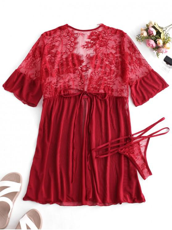 Tie Lace Panel Mesh Robe con perizoma - Rosso Lava  L