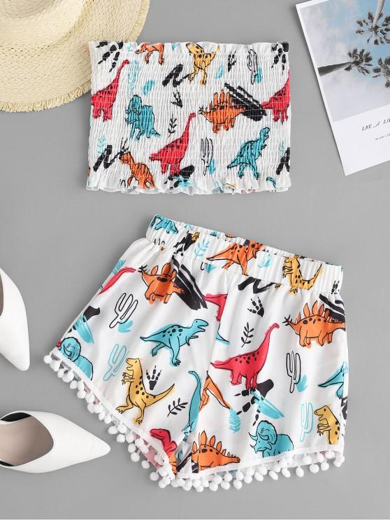 outfit Smocked Dinosaur Bandeau Top And Shorts Set - WHITE M
