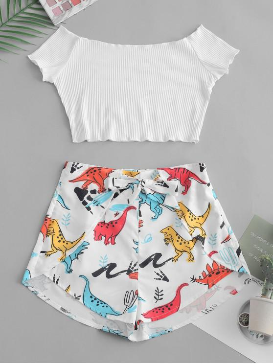 trendy Ribbed Off Shoulder Top And Dinosaur Shorts Set - WHITE M