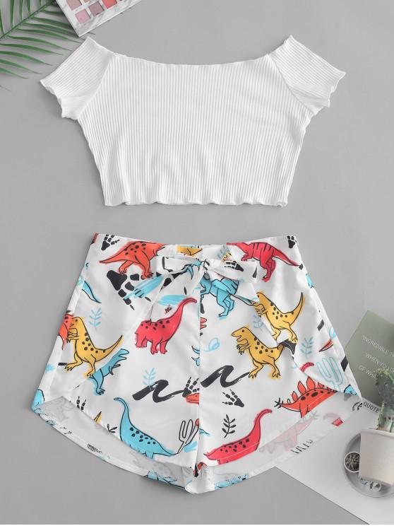 Conjunto acanalado fuera del hombro y pantalones cortos de dinosaurio - Blanco M