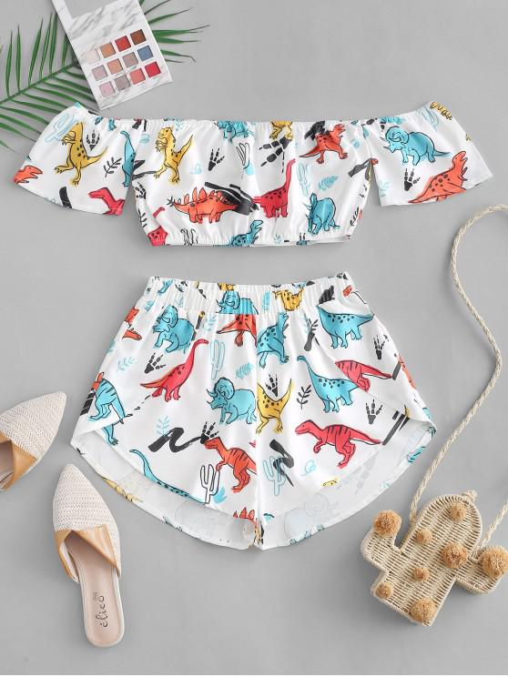 womens Cropped Off Shoulder Dinosaur Top And Shorts Set - WHITE L