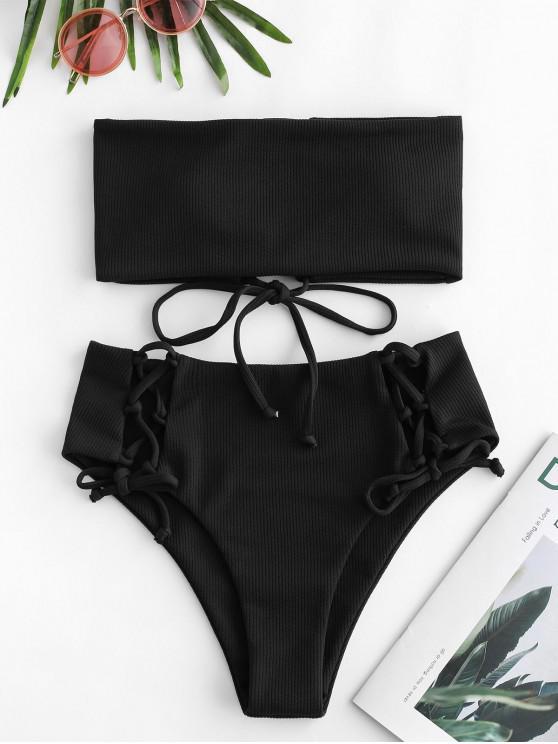 shops ZAFUL Lace Up Ribbed Strapless Bikini Set - BLACK M