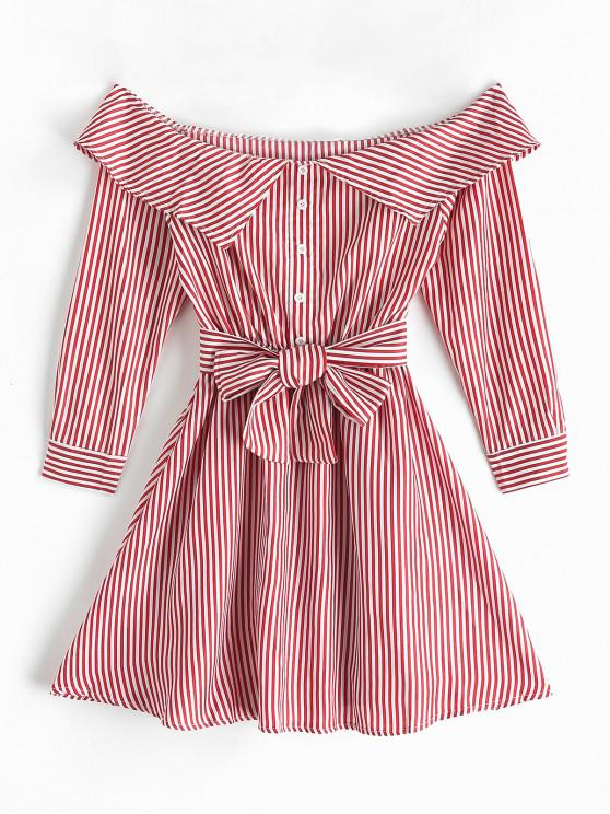 new Off Shoulder Buttons Striped Belted Dress - CHESTNUT RED L