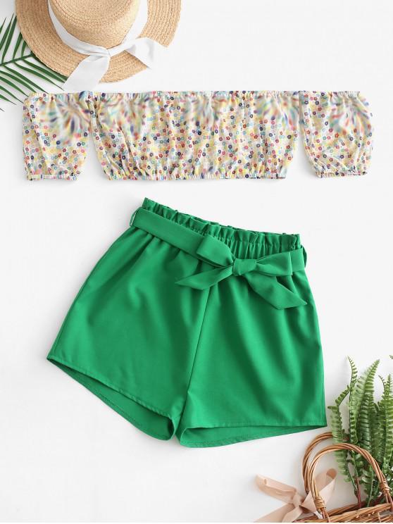 hot Contrast Off Shoulder Floral Top And Shorts Set - MULTI-A XL