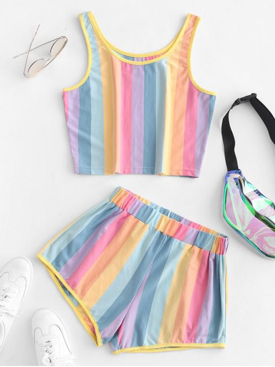 unique ZAFUL Cropped Rainbow Stripes Top And Shorts Set - MULTI L