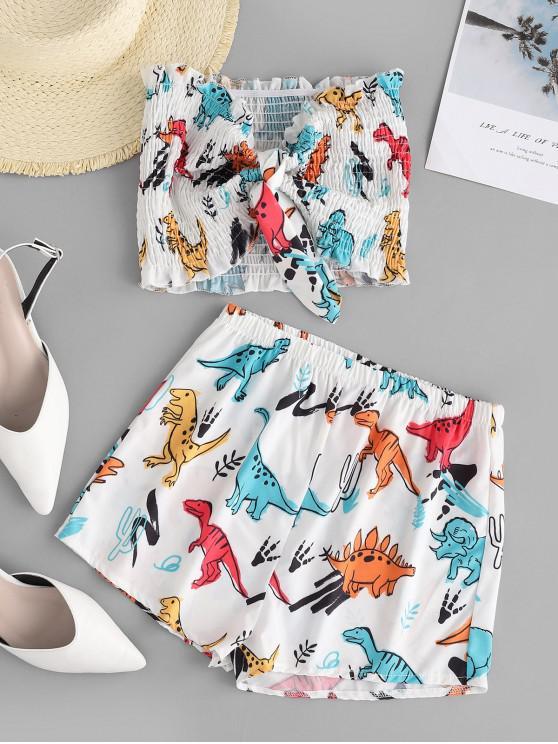 women Tie Front Smocked Dinosaur Bandeau Two Piece Set - WHITE L