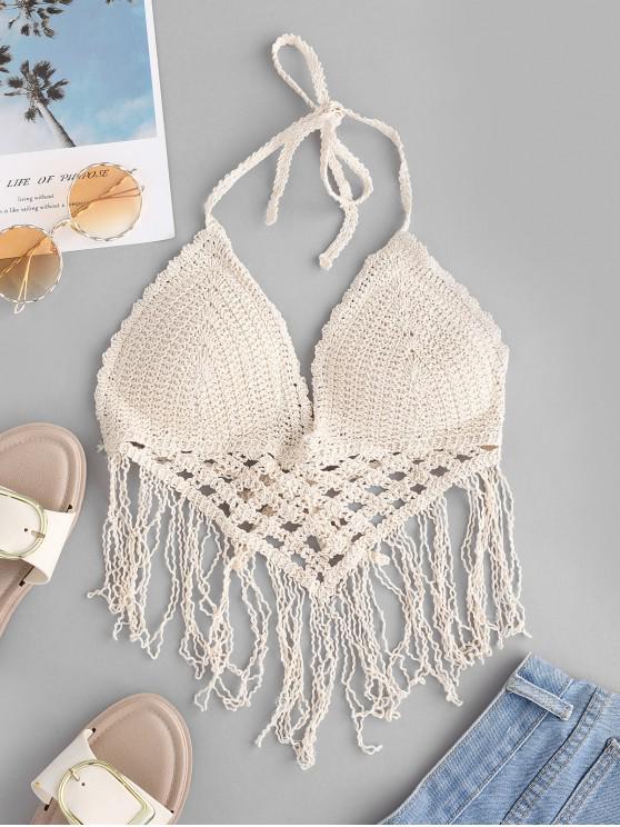 chic Padded Fringes Crochet Bralette Top - BEIGE ONE SIZE