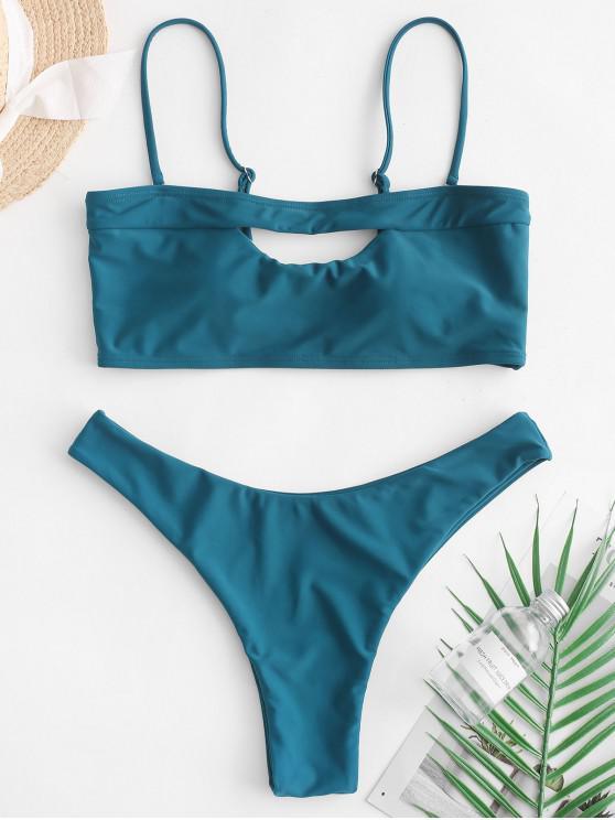 new ZAFUL Cutout High Leg Boning Bandeau Bikini Swimsuit - PEACOCK BLUE S