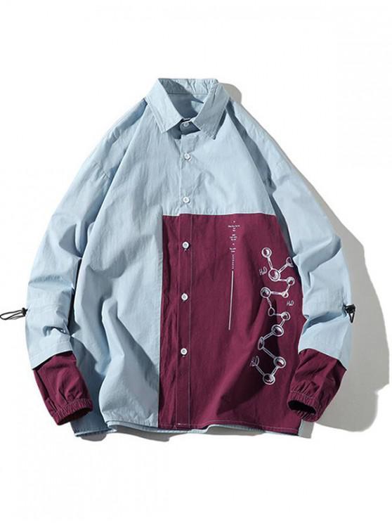 outfits Color Block DNA Graphic Letter Print Casual Jacket - DENIM BLUE L