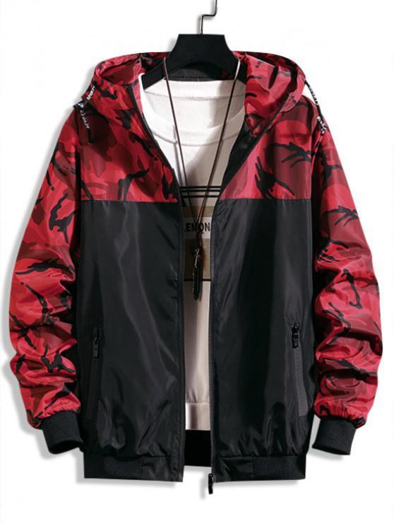 Camuflaje carta impresa chaqueta empapada con capucha - Rojo de Rubí L