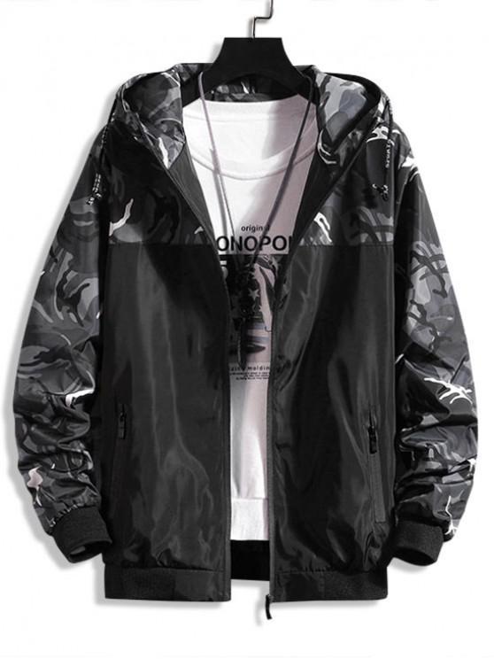 buy Camouflage Letter Print Spliced Hooded Jacket - BATTLESHIP GRAY M