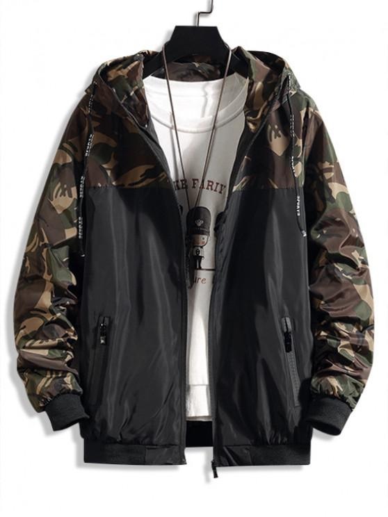 womens Camouflage Letter Print Spliced Hooded Jacket - ARMY GREEN M