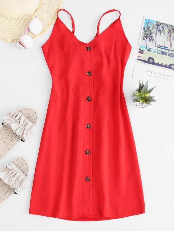 online Tied Back Button Up Cami Mini Dress - RED L