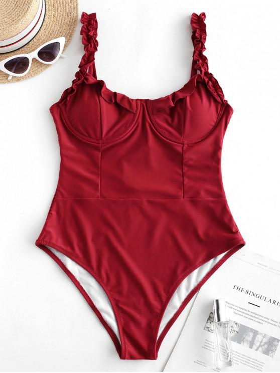 chic ZAFUL Lace-up Frilled Underwire One-piece Swimsuit - FIREBRICK L