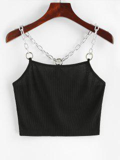 Chains Ribbed Crop Tank Top - Black S