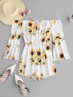 ZAFUL Sunflower Off Shoulder Bell Sleeve Romper - White L