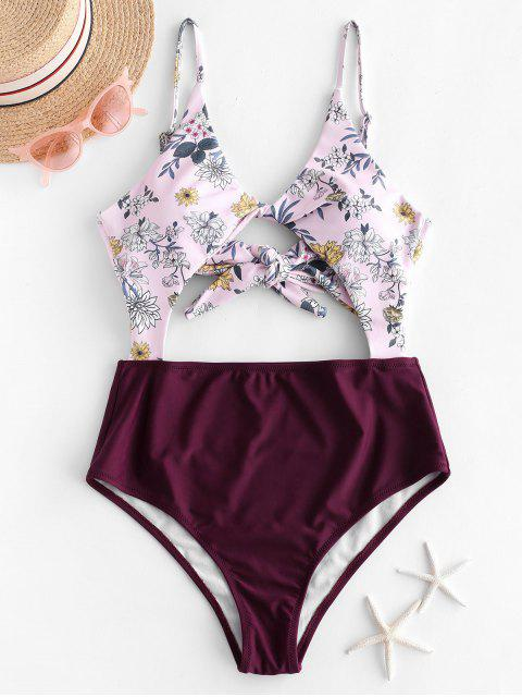 buy ZAFUL Plant Print Twist Cutout One-piece Swimsuit - MAROON S Mobile