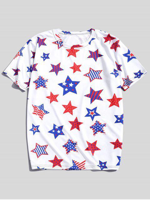 Camiseta de manga corta con estampado patriótico de estrellas de rayas - Seda Blanca M Mobile