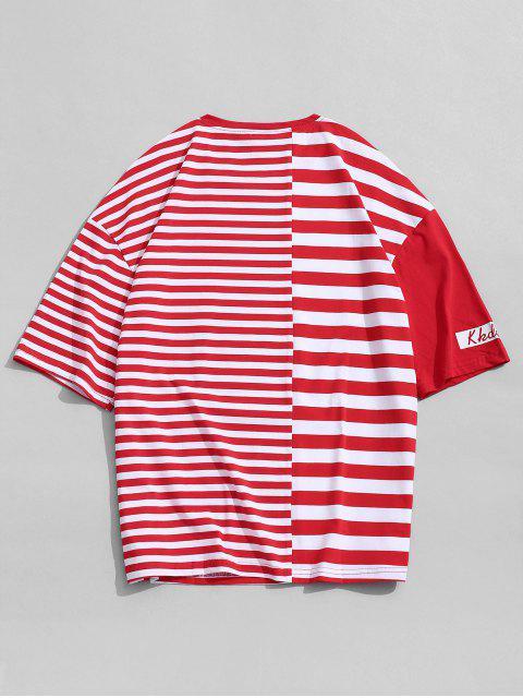 T-Shirt con Maniche Corte e Stampa a Righe - Rosso 2XL Mobile