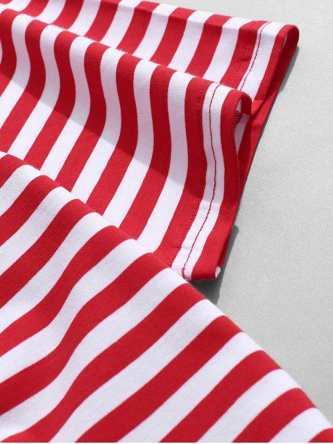 T-Shirt con Maniche Corte e Stampa a Righe - Rosso 3XL Mobile