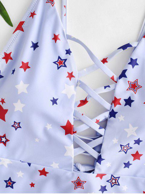 Bañador de una pieza de ZAFUL American Flag Lace-up Lattice - Azul Marino L Mobile
