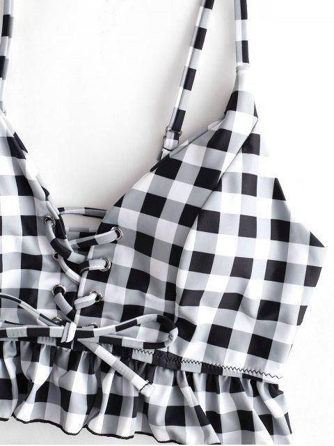 outfits ZAFUL Checkered Ruffle Lace Up Tankini Set - MULTI-A XL Mobile