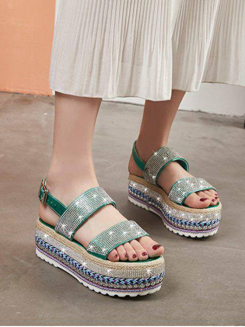 chic Shiny Rhinestone High Platform Sandals - SHAMROCK GREEN EU 39 Mobile