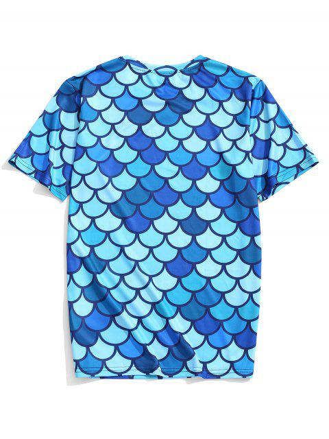 Camiseta de manga corta con estampado de escamas de pescado - Hiedra Azul L Mobile