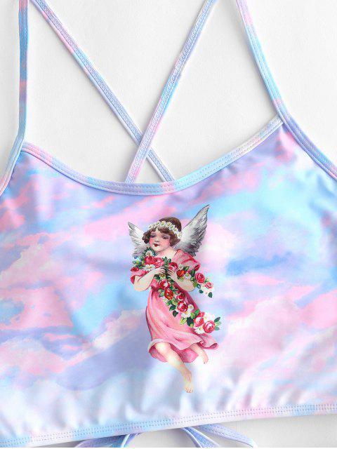 ZAFUL Traje de baño Tankini con control de barriga y estampado de ángel - Multicolor-A L Mobile