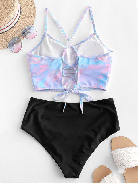 womens ZAFUL Angel Print Lace Up Tummy Control Tankini Swimsuit - MULTI-A XL Mobile