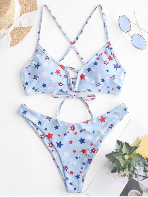 chic ZAFUL Star Print V-wired Crisscross Bralette Bikini Swimsuit - JEANS BLUE L Mobile