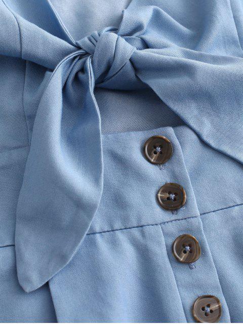 shops ZAFUL Bow Knot Cut Out Cami Romper - DENIM BLUE L Mobile