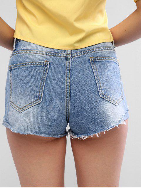 shop Rolled Hem Ripped Mini Denim Shorts - DENIM BLUE XL Mobile